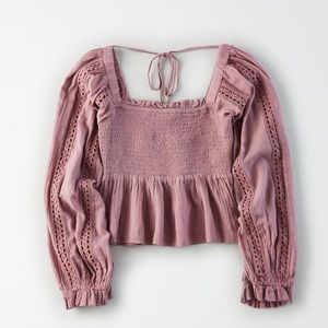 Square Neck Smocked Peasant Top